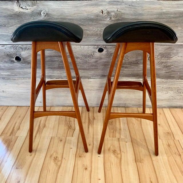 Wood Erik Buch Danish Modern Teak Bar Stools - a Pair For Sale - Image 7 of 13