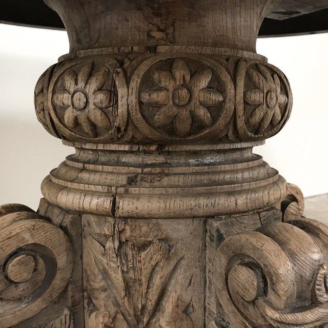 19th Century French Renaissance Stripped Oak Center Table With Hunting Dogs For Sale - Image 11 of 13