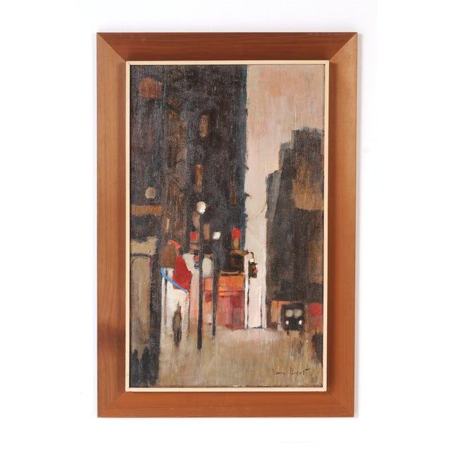 Wood Mid-Century Framed Streetscape Painting For Sale - Image 7 of 7