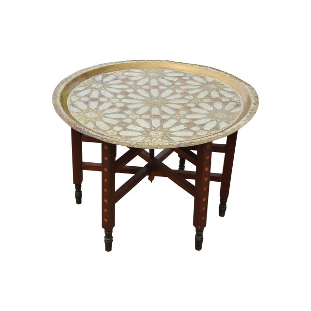 Moroccan Brass Tray Table with Geometric Motif - Image 1 of 8
