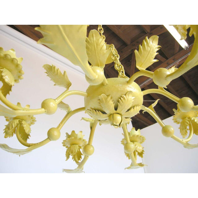 Painted Yellow Hand Wrought iron Leaf Chandelier For Sale In Los Angeles - Image 6 of 7