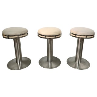 Set of Three Custom Karl Springer Style Steel and Leather Stools For Sale