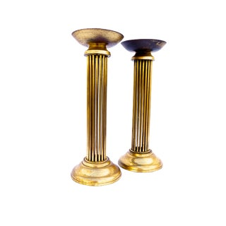 Tall Vintage Solid Brass Pillar Candle Holders - a Pair For Sale