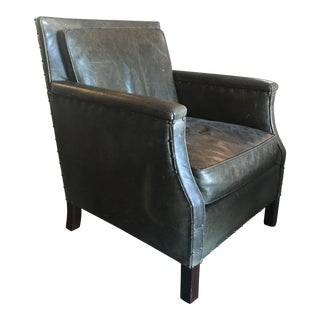 Transitional Olive Green Leather Chair For Sale