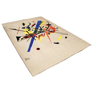 "Mid-Century Modern Abstract Rug Tapestry Inspired by Kandinsky Small Worlds - 5'11"" x 9' For Sale"