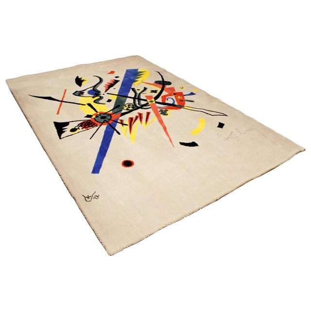 """Mid-Century Modern Abstract Rug Tapestry Inspired by Kandinsky Small Worlds - 5'11"""" x 9' For Sale"""