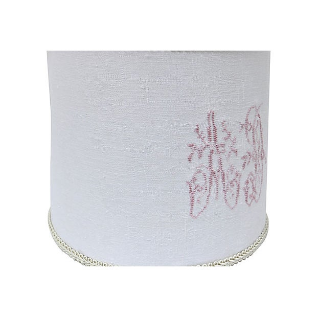 Boho Chic Antique French Damask Lamp Shade For Sale - Image 3 of 5