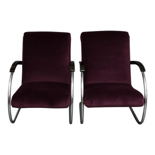 Art Deco Lloyd Lounge Chairs in Purple Velvet - a Pair