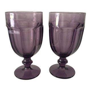 1970s Mid-Century Modern Libbey Glassware Amethyst Water Goblets - a Pair For Sale