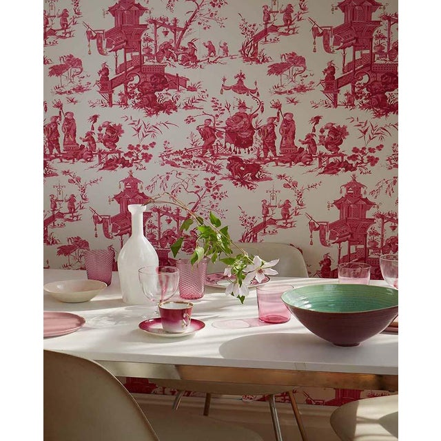 Schumacher Sample - Schumacher Chinois Wallpaper in Peony For Sale - Image 4 of 5