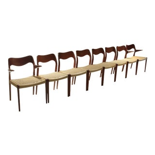 Moller Dining Chairs Model 71 and 55 Teak With Paper Cord Danish Modern - Set of 8 For Sale