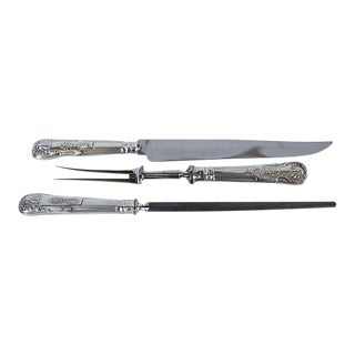 Silver-Plate Kings Pattern Carving Set