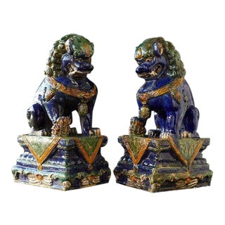 Late 19th Century Set of Two Large Chinese Sancai Glaze Foo Dogs - A Pair For Sale