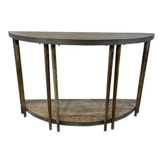 Industrial Modern Rustic Pine and Metal Demi-Lune Console Table For Sale