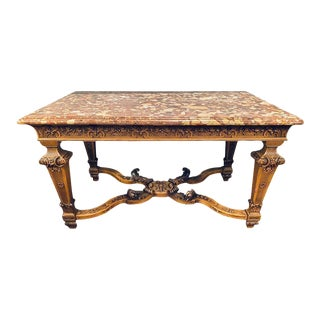 19th-20th Century Louis XVI Style Rouge Marble-Top Center Table For Sale