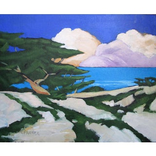 Sand Dunes Cypress Clouds California Landscape Seascape Painting Lynne French For Sale
