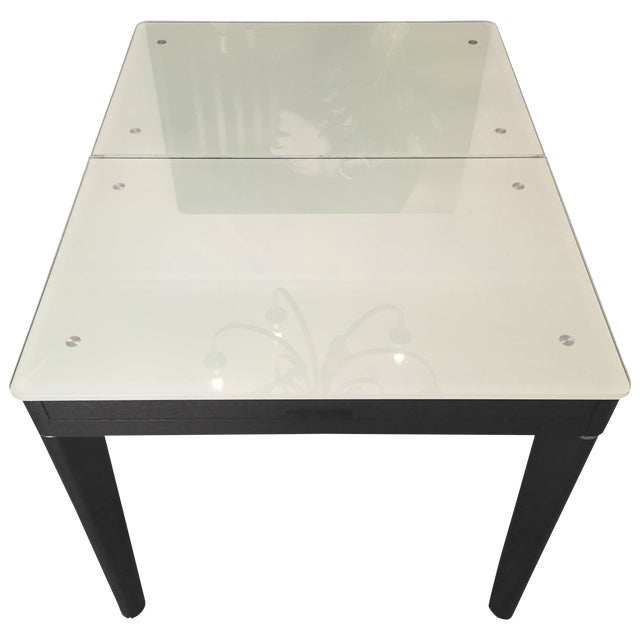 Mixed Media Glass and Wood Covertible Dining Table - Image 1 of 7