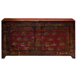 Vintage Chinese Dong Bei Distressed Red Cabinet