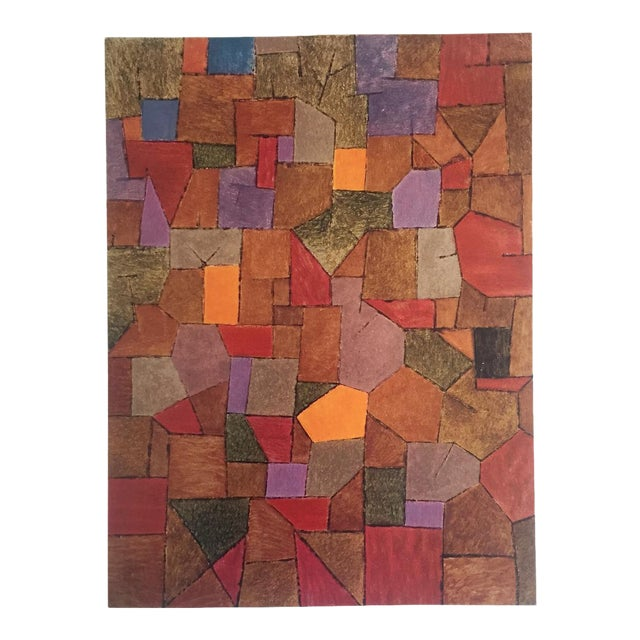 """Paul Klee Vintage 1967 Authentic Abstract Lithograph Print """"Mountain Village Autumnal"""" 1943 For Sale"""