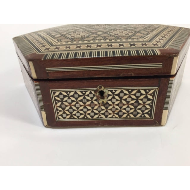 Middle Eastern exquisite handcrafted Middle Eastern Syrian mother-of-pearl inlaid walnut wood box. Middle Eastern...