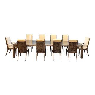 """sold"". William Doezema. For Mastercraft Vintage Wood & Brass Dining Set"