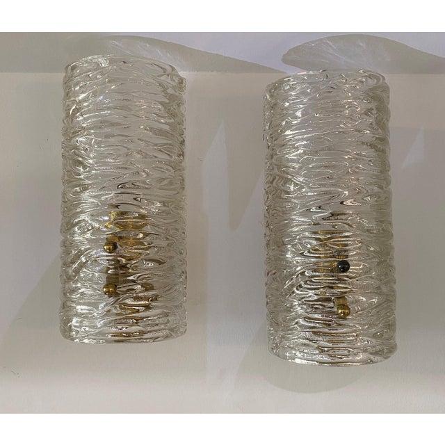 Transparent Mid-Century Modern Kalmar Glass Sconces - a Pair For Sale - Image 8 of 9