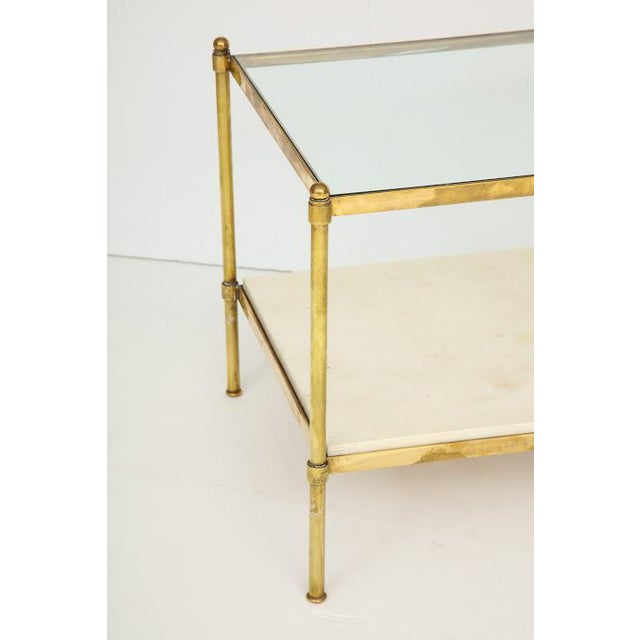 Parchment and Bronze Coffee Table With Glass Top For Sale - Image 9 of 11