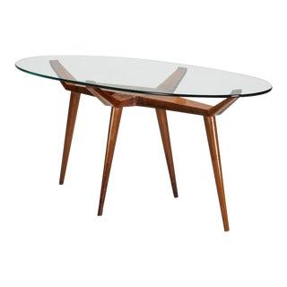 1950s Mid Century Modern Pierluigi Giordani Walnut Oval Glass Top Dining Table
