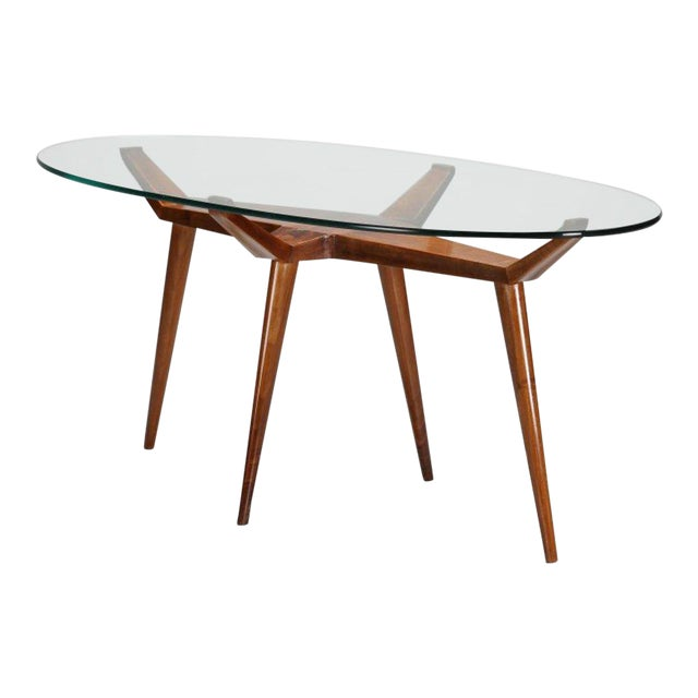 S Mid Century Modern Pierluigi Giordani Walnut Oval Glass Top - Glass top mid century dining table