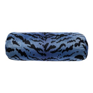 Blue Tigre Bolster Pillow For Sale