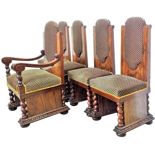 20th Art Deco Set of Armchair and Four Dining Chairs For Sale