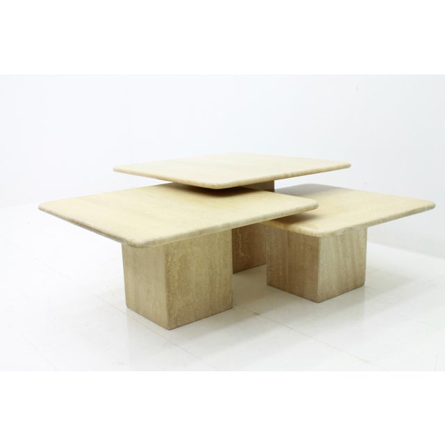 Set of Three Italian Travertine Side Tables 1970s For Sale - Image 12 of 13