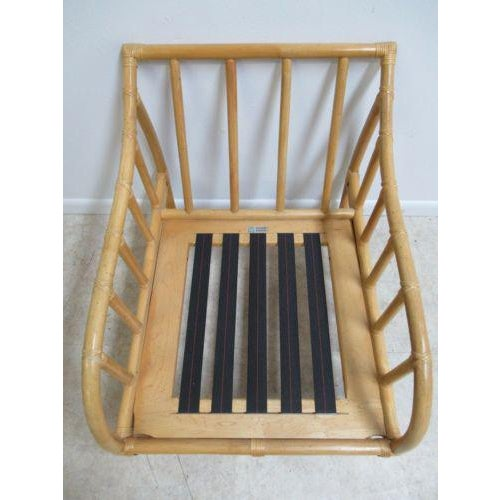 1970s Vintage Ficks Reed Bamboo Rattan Living Room Lounge Chair For Sale - Image 5 of 11