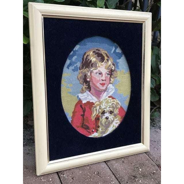 Precious petite hand made needlepoint art piece of a golden haired boy and his dog. Beautiful, vivid colors and exquisite...