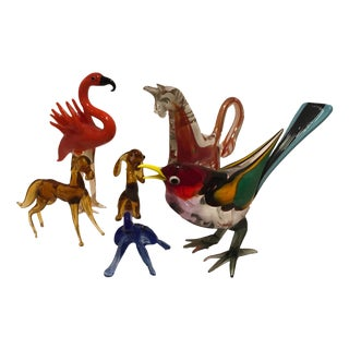 Mid Century Modern Murano Style Glass Animal Figurines - Set of 6
