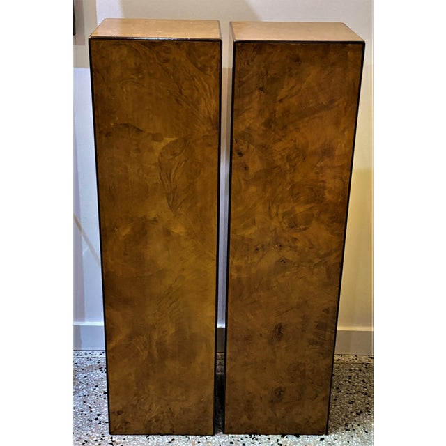 Vintage Drexel Heritage Pedestals in Burlwood - a Pair - from a Palm Beach estate. These have been restored. Please note...
