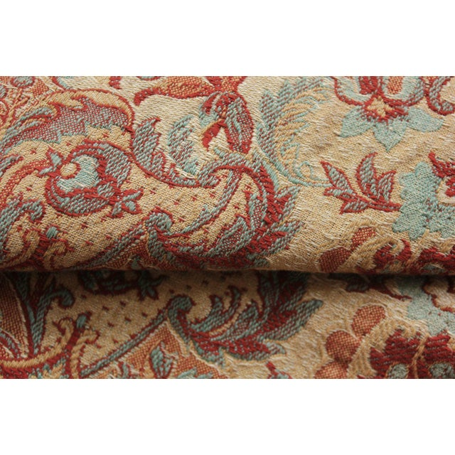 Late 19th Century Antique 1885 French Art & Crafts Woven Jacquard Bed Curtain Fabric For Sale - Image 5 of 10