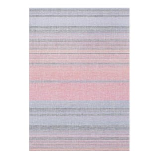 Abstract Sandia Stripe Linen Mesh Grasscloth Wallcovering For Sale