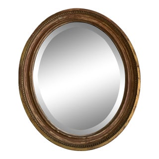 Vintage Oval Painted Mirror For Sale