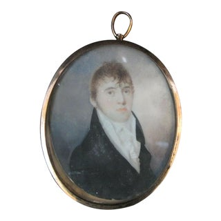 Antique 18th Century Portrait Painting of Handsome Young Man in Metal Oval Frame For Sale