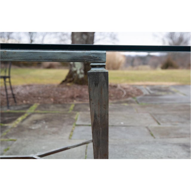 Vintage Glass Top and Steel Rectangular Dining Table For Sale - Image 10 of 12