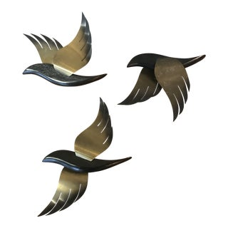 Mid Century Wood and Brass Bird Wall Sculptures - Set of 3 For Sale