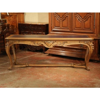 Large 19th Century French Louis XV Carved Walnut Console Desk With Leather Top Preview