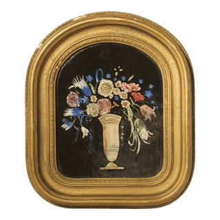 Antique 19th Century Reverse Painting and Foil on Glass For Sale
