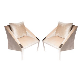 Andree Putman Peach Colored Lounge Chairs - a Pair For Sale