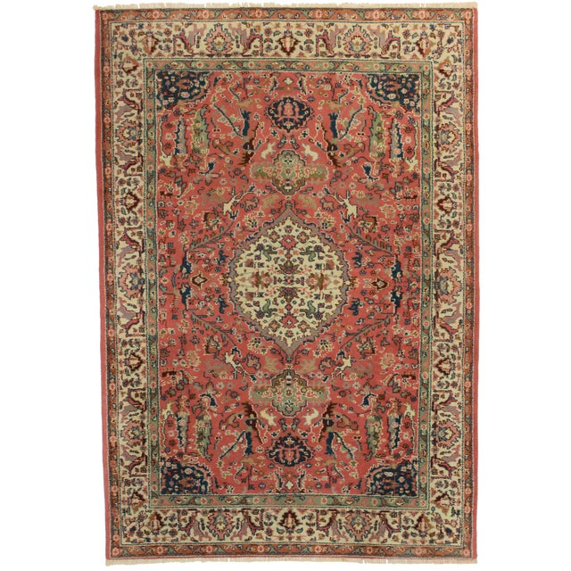 "RugsinDallas Vintage Hand Knotted Wool Turkish Rug - 5'8"" X 8'6"" - Image 1 of 2"