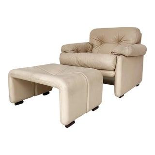 1970s Tobia Scarpa for B&b Italia Coronado Leather Club Chair and Ottoman Set For Sale