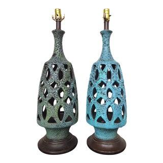 Contrasting Aqua Mid Century Lava Glazed Lamps - a Pair For Sale