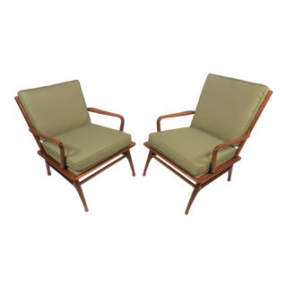 1960s Vintage Danish Modern His and Hers Solid Teak Lounge Chairs- A Pair For Sale