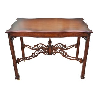 Antique English Chinese Chippendale Pierce Carved Mahogany Tea Table For Sale